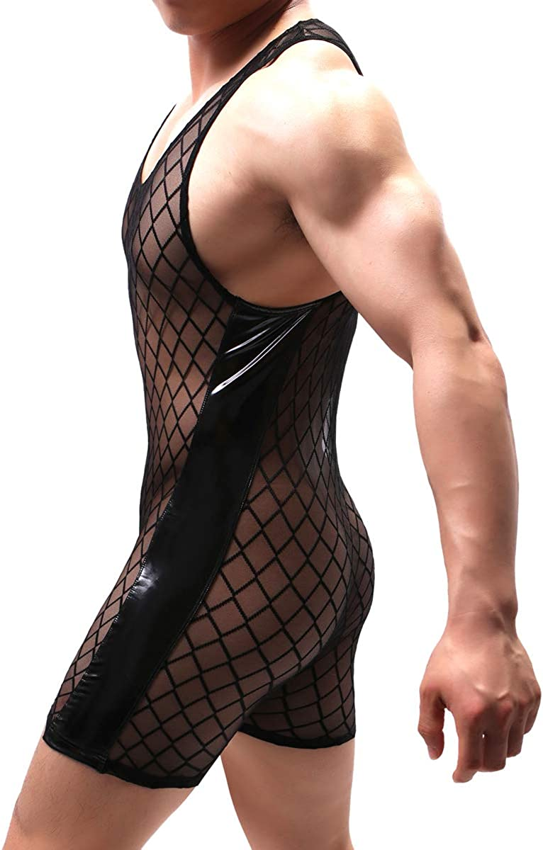 YUFEIDA Mens Suspenders Wrestling Singlet Leotard Thong Bodysuit Jumpsuit Briefs Swimwear