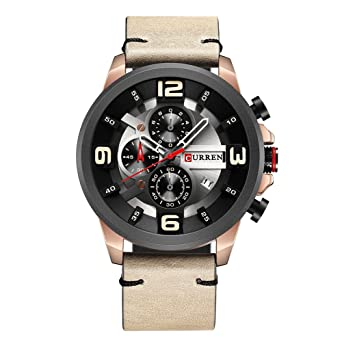 Amazon.com  CURREN Chronograph Watch Men Quartz Sport Fashion Casual  WristWatches for Leather 8288 (Rose Gold Khaki)  Watches c888bf297f9