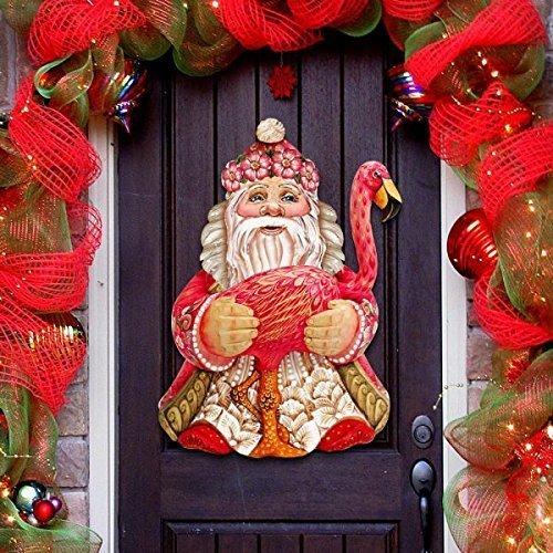 G.DeBrekht Flamingo Santa Indoor & Outdoor Wooden Hanging Door Decorations / Wall Sign, For Home, School, Office, Christmas #8117835H