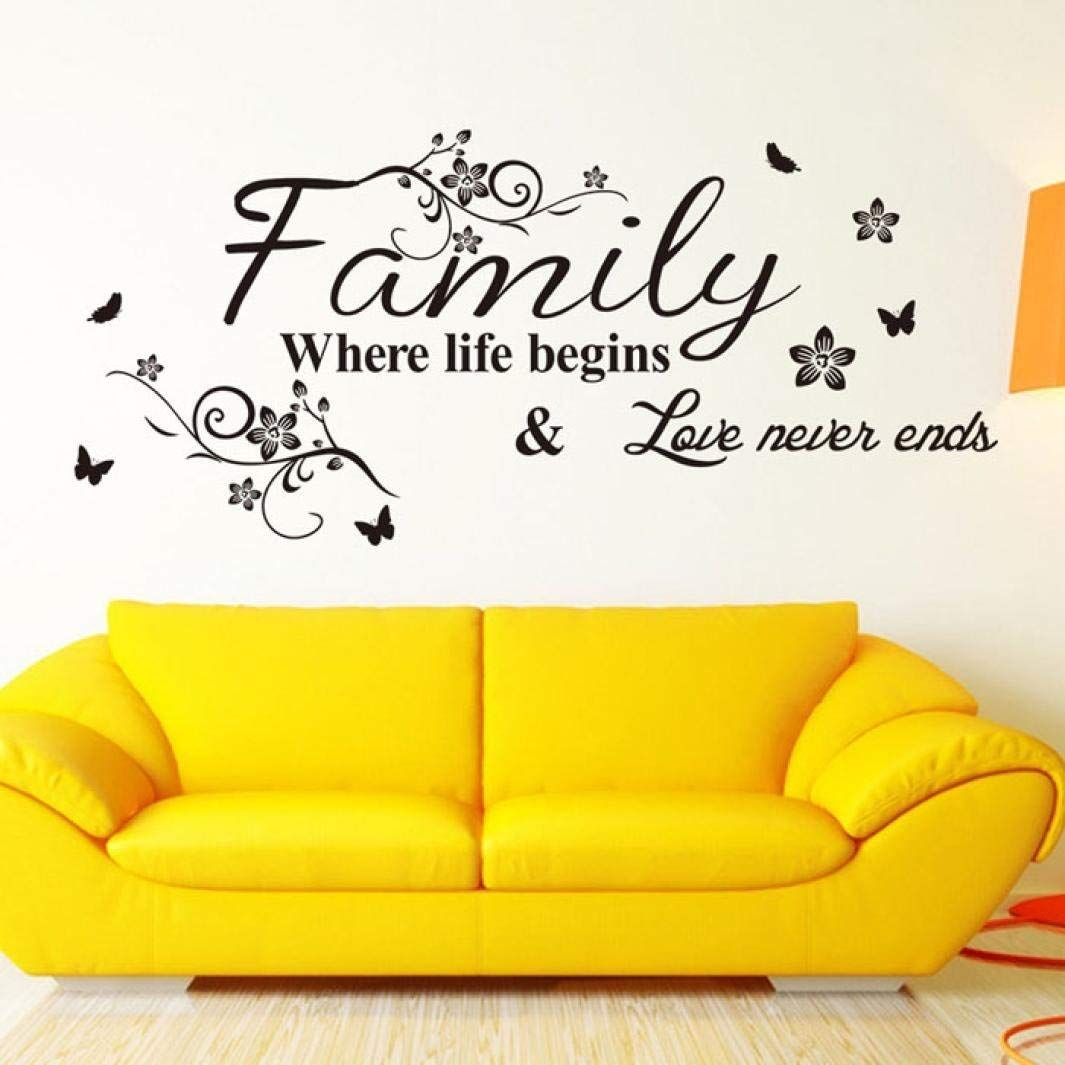 Wall Stickers,Geyou Removable Family Quotes Sayings With Butterfly Wall Sticker For Kids Home Living Room Decor Art Vinyl Mural Decal New (A)