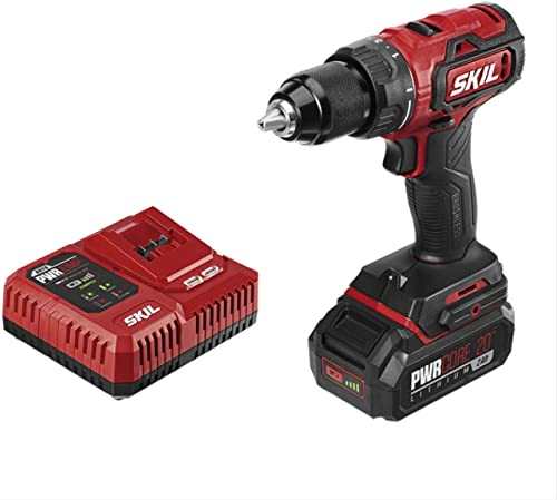 SKIL PWRCore 20 Brushless 20V 1 2 Inch Drill Driver, Includes 2.0Ah Lithium Battery and PWRJump Charger – DL529302