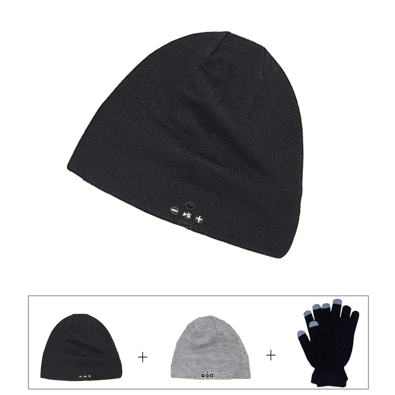Bluetooth Beanie Hat,Bluebyte Bluetooth Hat with Headphones, Mens and Women Gifts. Unisex Washable Beanie Double Layer Beanie and Touchscreen Gloves Gifts Set for Winter Outdoor Fitness.