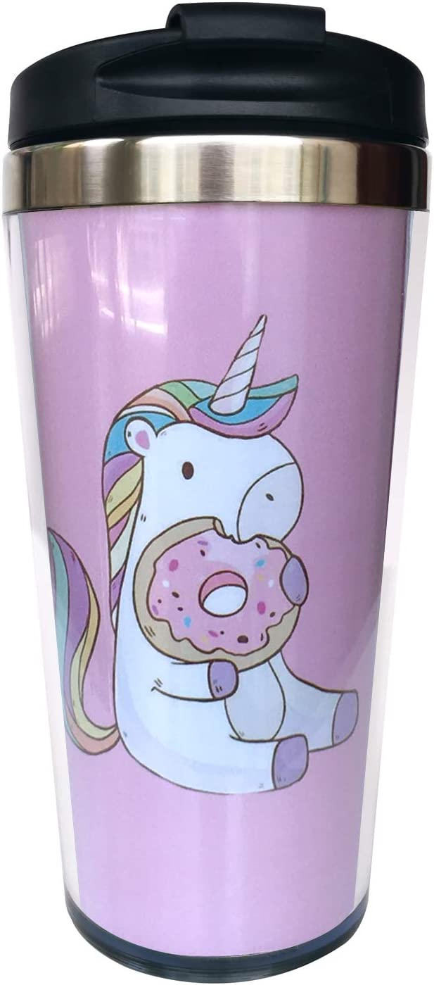 NVJUI JUFOPL Unicorn With Donut Travel Tumbler Coffee Mug for Men's & Women's 15 oz, With Flip Lid, Stainless Steel, Vacuum Insulated, Water Bottle Cup