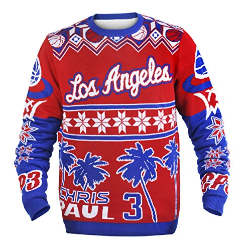 [KLEW NBA Los Angeles Clippers Chris Paul #3 Ugly Sweater, Large, Red] (Los Angeles Clippers Acrylic)