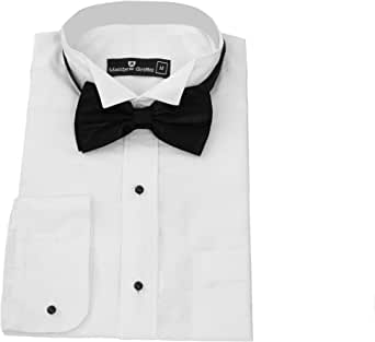Matthew Griffin Camisa de esmoquin para hombre, cuello ala, ocasión especial, fiesta, boda, camisa, corbata negra