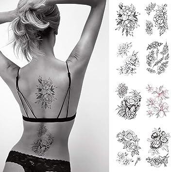 Cargen 8 Feuilles Noir Rose Fleurs Tatouage Autocollants Tatouages Sexy Pour Femmes Etanche Faux Corps Autocollants Amazon Fr Beaute Et Parfum