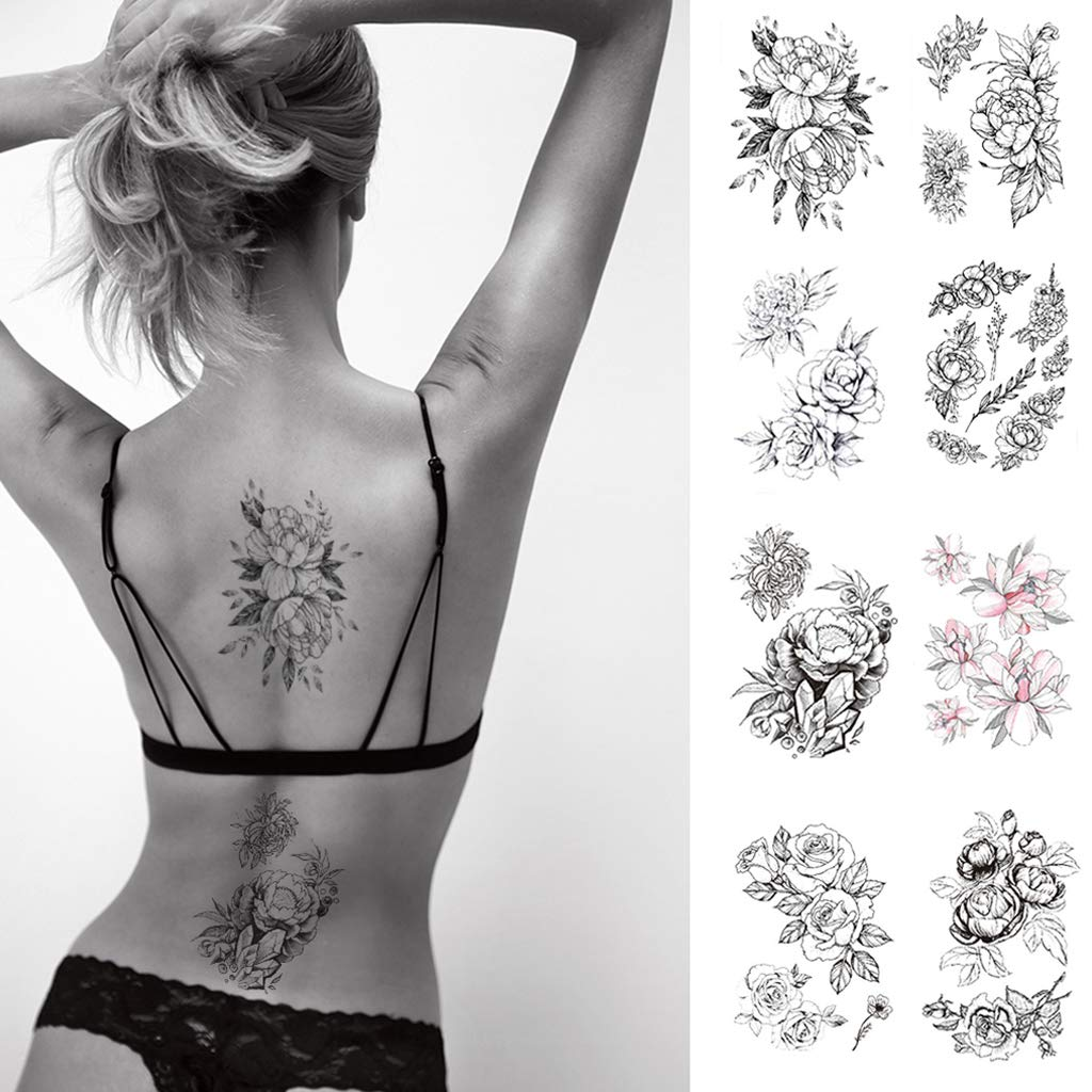 CARGEN 8 Sheets Black Rose Tattoo Flowers Tattoo Stickers Sexy Tattoos for Women Waterproof Fake Body Stickers