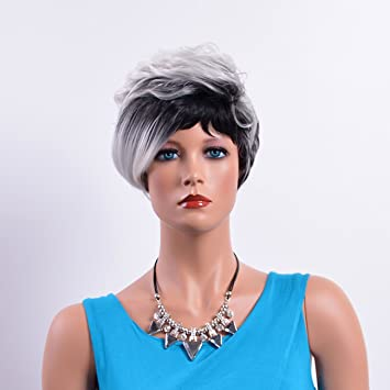 New Synthetic Wigs Pelucas Sinteticas Short Wave Silver Wig For Black Women Pelucas Pelo Natural Zootopia