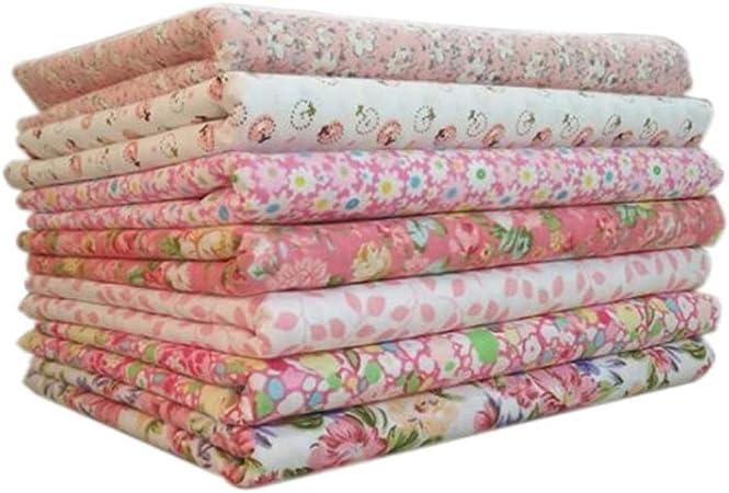 7 piezas de tela de algodón paquete de patchwork cuadrado 25 x 25 cm DIY manualidades costura scrapbooking Quilting rosa: Amazon.es: Hogar
