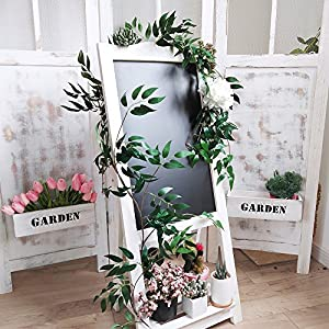 Supla 5.7 Feet Artificial Hanging Willow Leaves Vines Twigs Fake Silk Willow Plant Leaves Garland String in Green for Indoor/Outdoor Wedding Decor Jungle Party Supplies Greenery Crowns Wreath 3