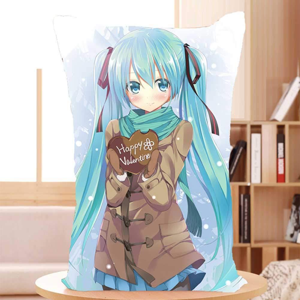 SGOT Anime Kissen Pl/üschtier IHatsune Miku Pl/üsch Weiches Kissen Sofakissen Pl/üschkissen Vocaloid Cartoon Pl/üsch Kissen 60*30cm H01