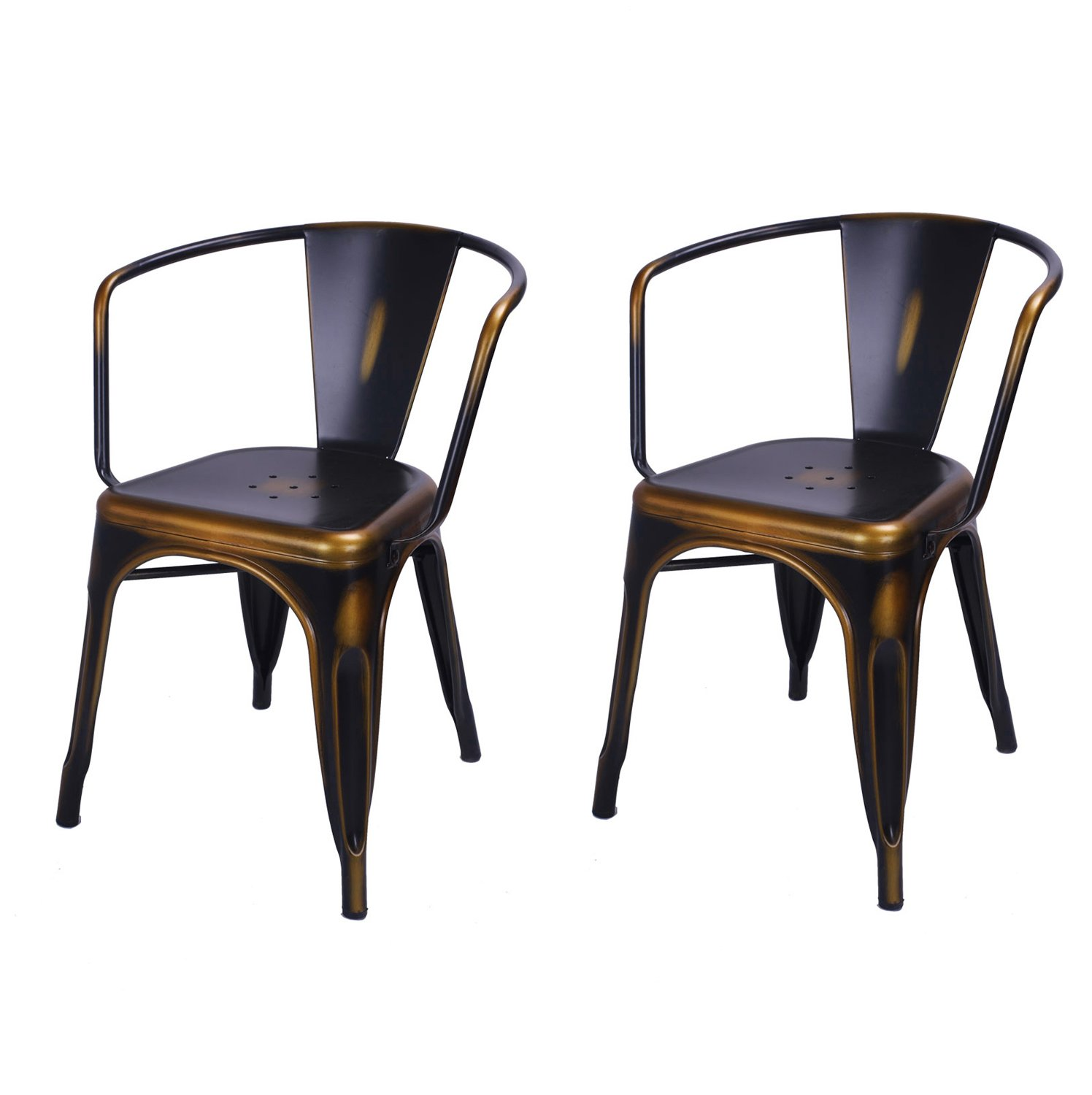 DecentHome Metal Stackable Tolix Style Dining Armchairs Set of 2, Antique Copper