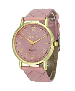 Womens Geneva Quartz Watches,Ulanda-EU Unique Numeral Analog Clearance Lady Wrist Watch Female watches on Sale Watches for Women,Round Dial Case Comfortable Faux Leather Wristwatch m30 (Pink)
