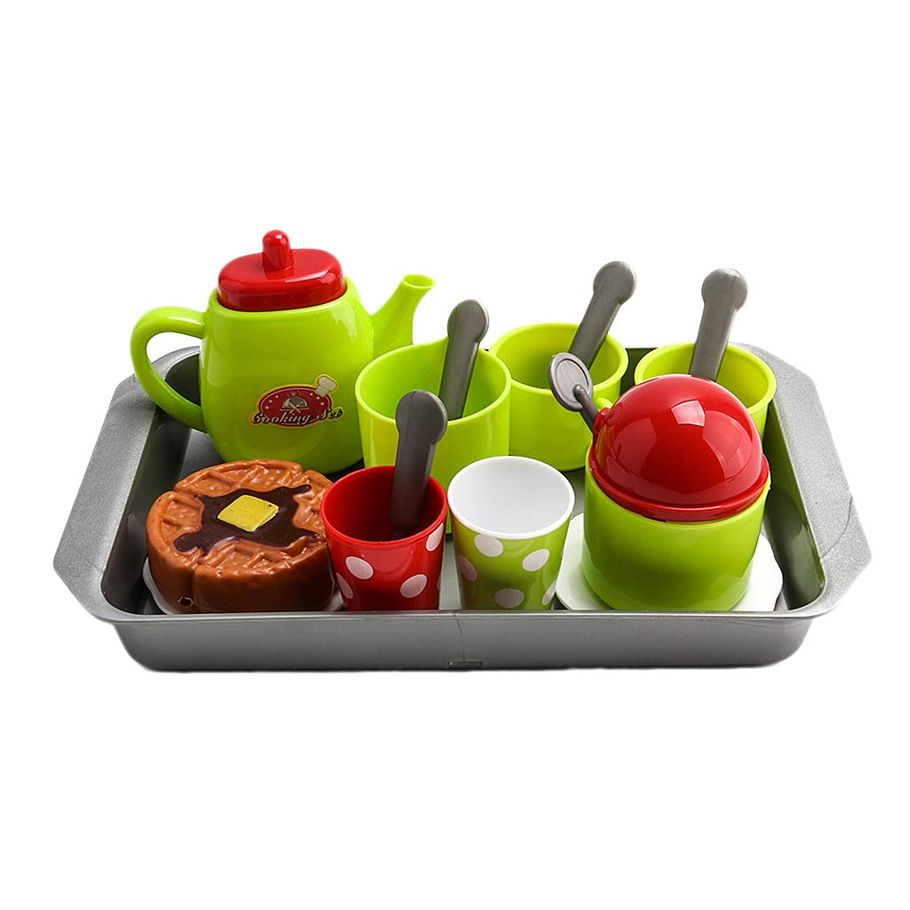 Homyl Pack of 18 Plastic Play Tea Set Tea Party Pretend Play Role Game Playset for Kids