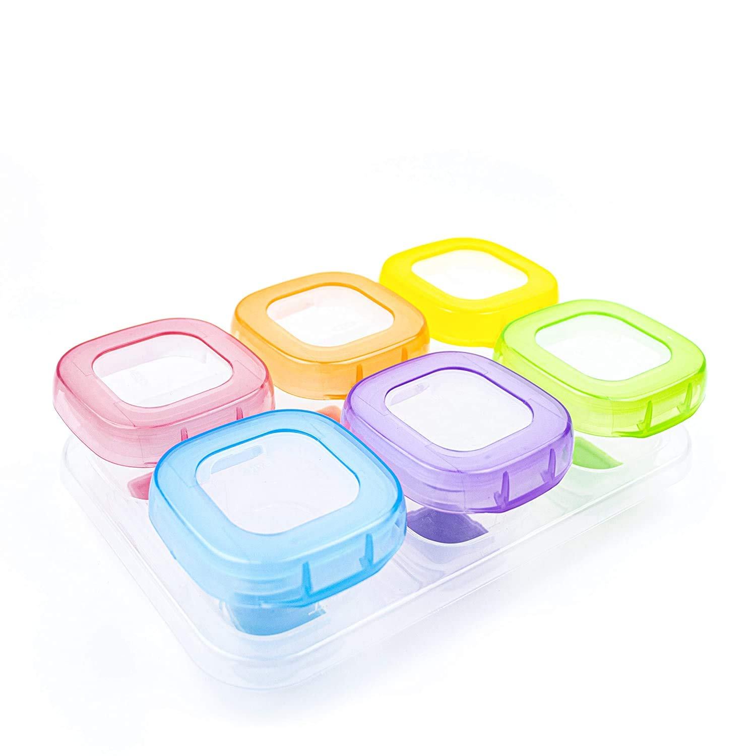 6Pcs 2oz Baby Food Blocks Containers, Leakproof Baby Food Containers with Lid and Soft Base, BPA Free Resuable Baby Food Jars for Freezer, Microwave, Dishwasher Safe