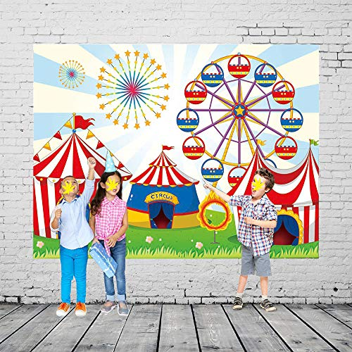 Qian Vinyl Ferris Wheel Photo Background Circus Carnival Party Backdrops Baby Cosplay Party Studio Props 7x5ft]()
