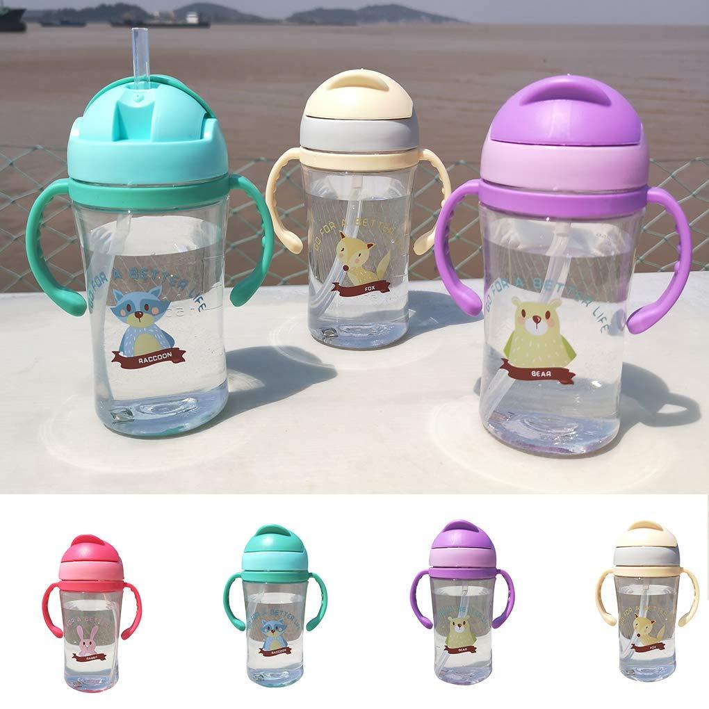 Uzinb B/éb/é Mignon Nourrir Coupe Cartoon 400ml animaux de paille enfants apprennent lalimentation Poign/ée Gourde Kids Cup Formation