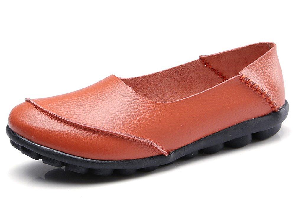 CCZZ Moccasin Femme Cuir Loafers B078N2GNZH Loafers Casuel Bateau 19916 Chaussures de Flats Orange e8187d6 - fast-weightloss-diet.space