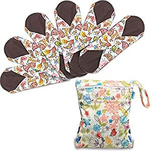 Teamoy 6Pcs 10 Inches Sanitary pad, Reusable Washable Cloth Menstrual Pads/Panty Liners with Wet Bag, Super-Absorbent, Soft and Comfortable, Perfect for General Flow