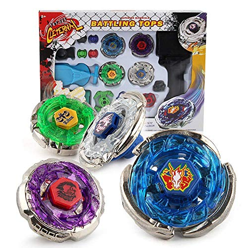 Metal Master Fusion Storm Pegasus/Flame Libra/Earth Eagle/ Lightning L-Drago with 4D Launcher Grip Gyro top Flight Set (Earth Eagle Beyblade)