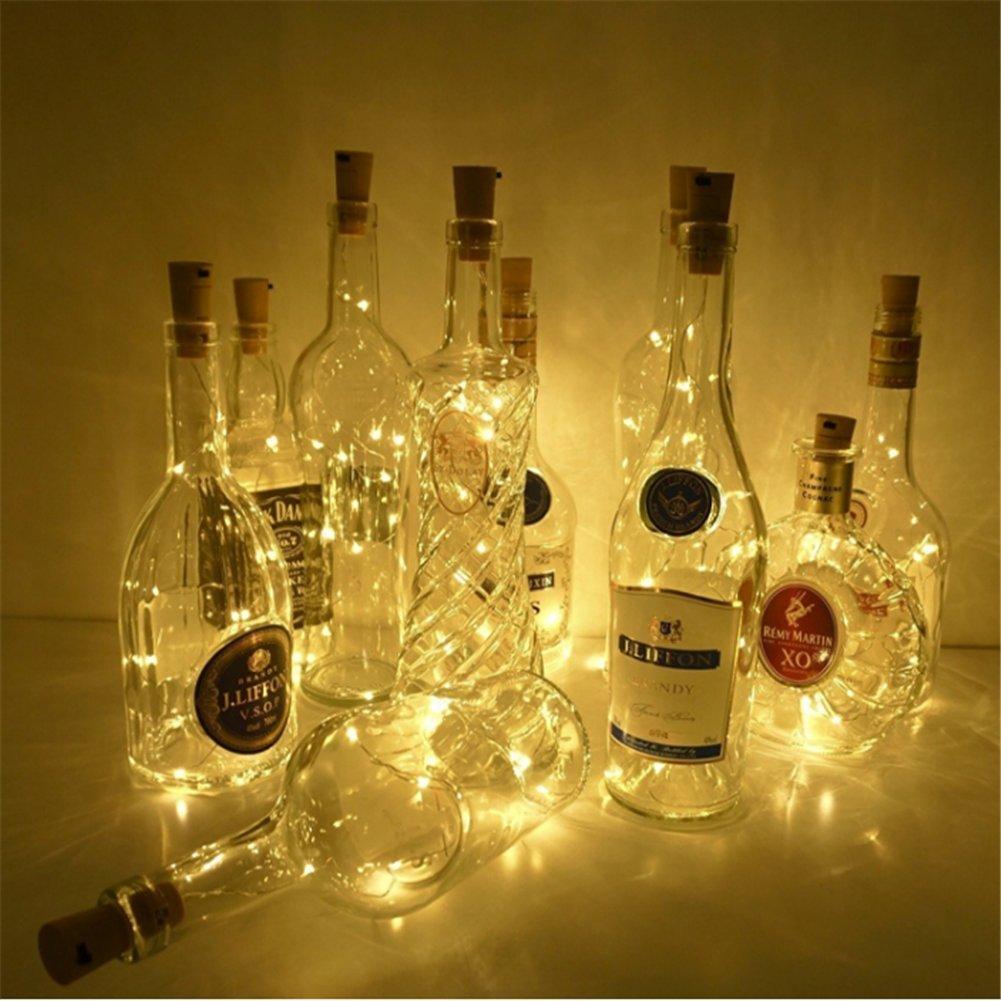 3x LED Botella Luces,Botella de Vino Luces de Corcho,200CM con 20 LEDs Cable plata para Botella Decoración DIY,uso interior y exterior,Barbacoa,Reunión ...