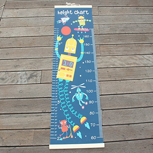 Panda_mall Baby Height Growth Chart Ruler Kids Roll-up Canvas Height Chart Removable Wall Hanging Measurement Chart Wall Decoration with Wood Frame for Boys Girls Kids Room(Robot) by Panda_mall (Image #6)