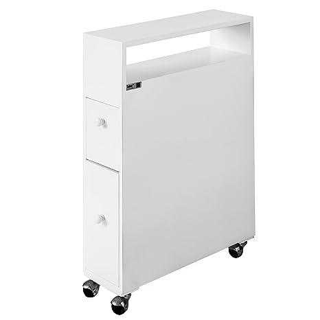 SoBuy FRG51-W - Mueble de organización con ruedas para WC, porta rollos de