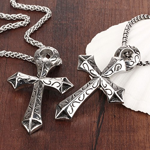 TRUSUPER Jewelry Mens Individual Titanium Steel Cross ...