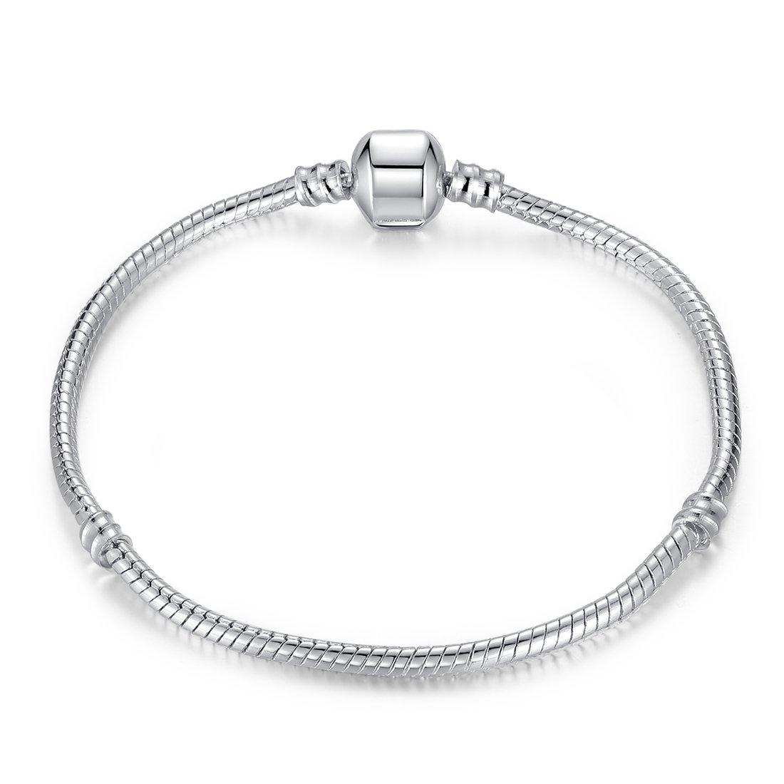 Presentski Fashion Silver Plated Snake Chain For Charm Bracelet B01N13M15G_US