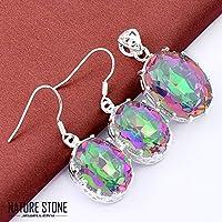 phitak shop Gorgeous 2 pcs 1 Lot Rainbow Mystic Topaz Silver Necklace Pendant Earrings Sets