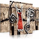 Feeby. Multipart Canvas - 5 panels - Wall Art Picture, Image Printed on Canvas, 5 parts, Type B, 150x100 cm, ABSTRACTION, WOMEN, SHAMANS, PATTERNS, AFRICA, BROWN, RED, WHITE