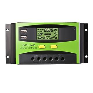 Controlador de carga solar , 30A 12V/24V PWM regulador de cargador solar, 2 pantallas de puerto de USB, XIEHAIGE