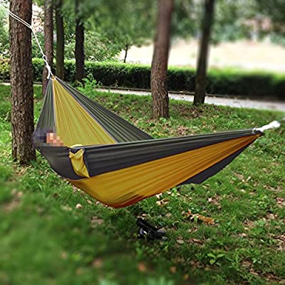 Portable Compact Siesta Single-person Parachute Nylon Camping Hammock Nest for Travel, Hiking, Backpacking, Beach, Kayaking and Bedroom