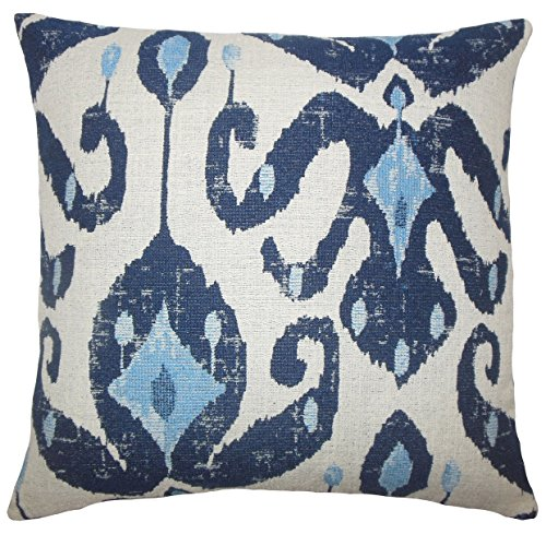 Ikat Euro Sham - The Pillow Collection EURO-D-71096-NAVY-P100 Eitan Ikat Bedding Sham, Euro/26