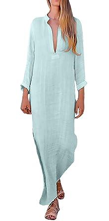 70e5f634383b73 Vestiti Mare Donna Lunga Elegante Primaverile Abito Estivi V-Neck Maniche  Lunghe Abito Tunica Giovane