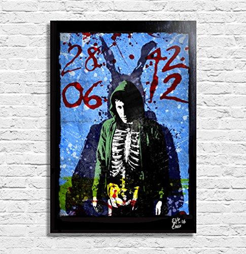 Donnie Darko and Frank the Bunny - Pop-Art Original Framed Fine Art Painting, Image on Canvas, Artwork, Movie Poster, Horror, Halloween