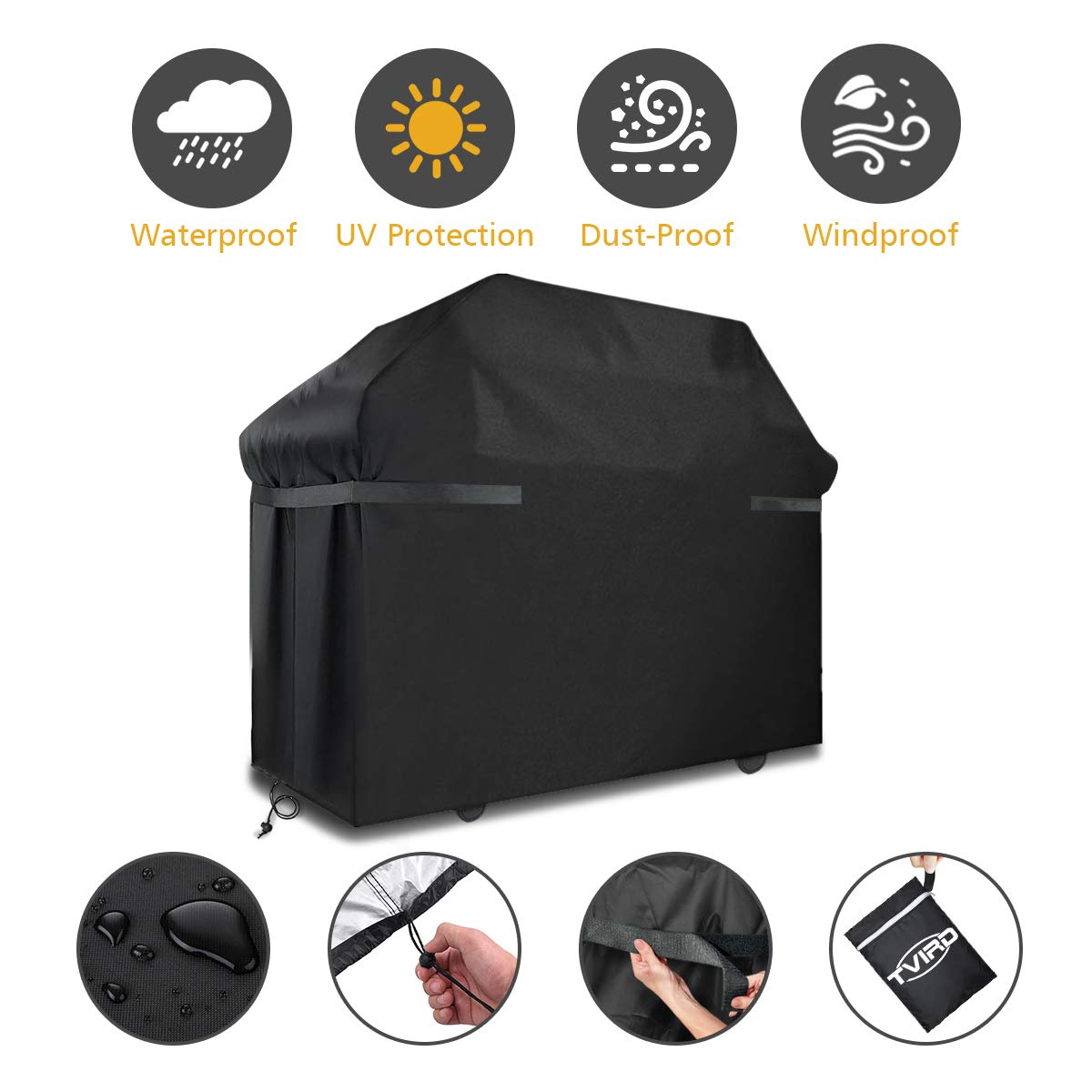BBQ Grill Cover, Tvird Gas Grill Covers | 58-inch Heavy Duty Waterproof BBQ Cover | Fits Grills for Weber Char-Broil Nexgrill Brinkmann, Windproof, Rip-Proof, Weather & UV Resistant with Storage Bag by Tvird