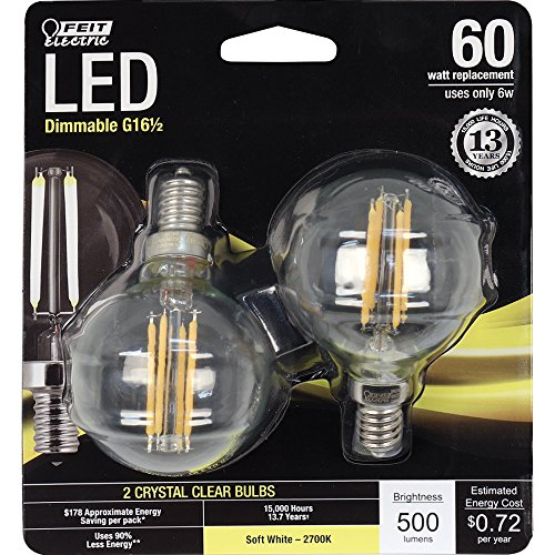 Feit Electric BPG1660/827/LED/2 60W Equivalent Clear G16-1/2 Globe Dimmable Candelabra Base LED Light Bulb, Soft White, 2 count