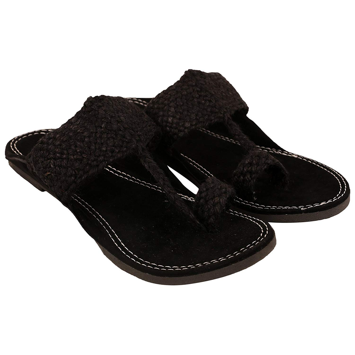 5960eb7619c71 ShreeCharbhuja Indian Rajasthani Ethnic Men's Jute Slipper Black ...