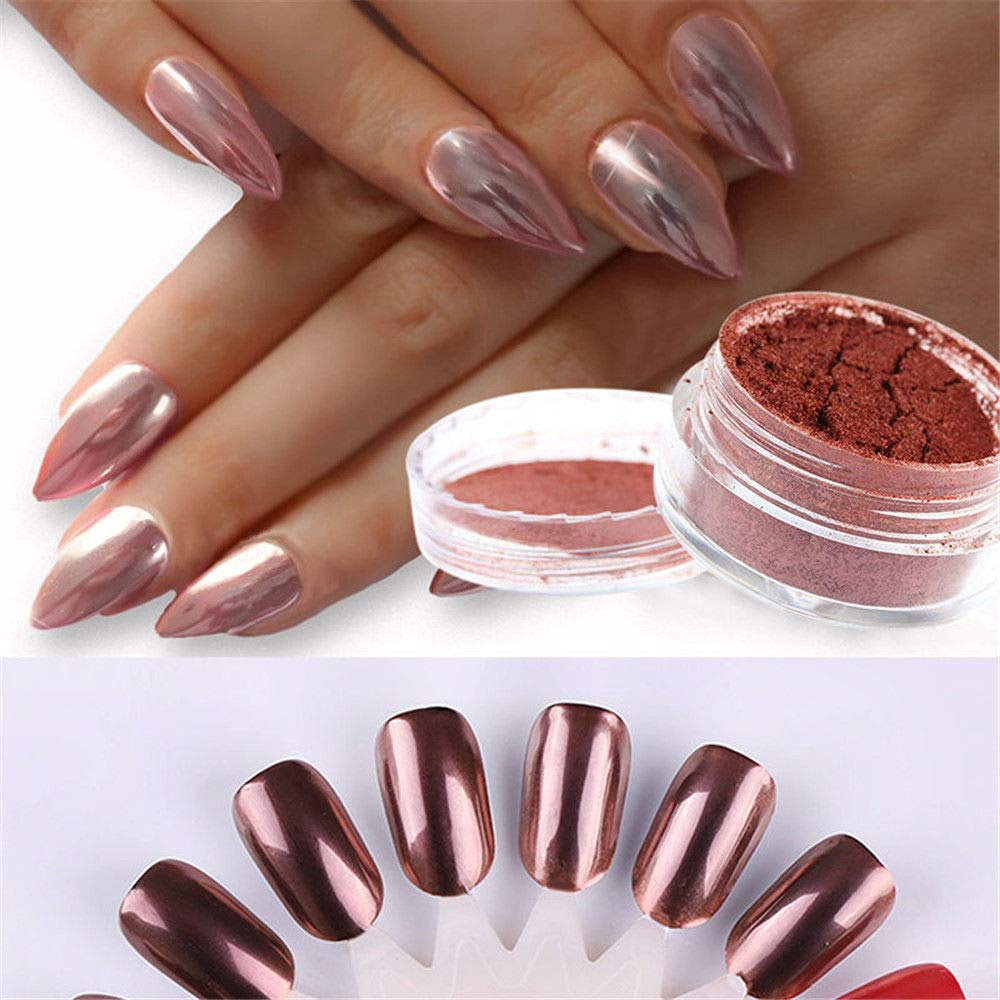 Rose Gold Nail Mirror Powder Nails Glitter Chrome Powder Nail Art Decoration (Rose Gold) Coolbitz