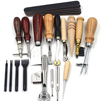 Leder Werkzeuge Set 69 PCS Handwerkzeuge Couture Leder Handwerk Stahl+Holz DIY