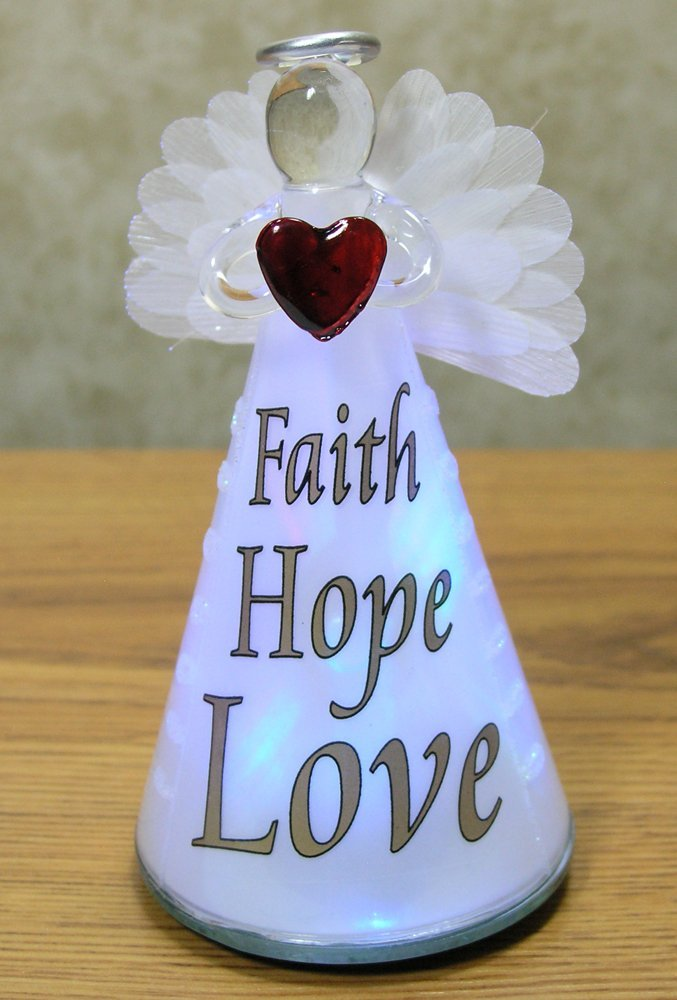 Banberry Designs Faith Hope Love Angel - Frosted Glass LED Color Changing Praying Angel Statue Holding Red Heart