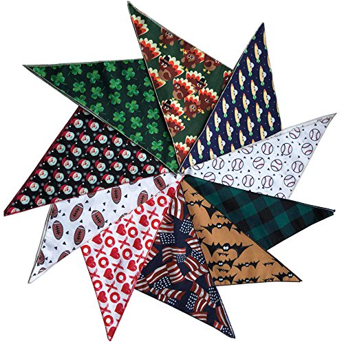 Coastal Cool Set of 10 Holiday Pet Bandanas for your dog or cat ()