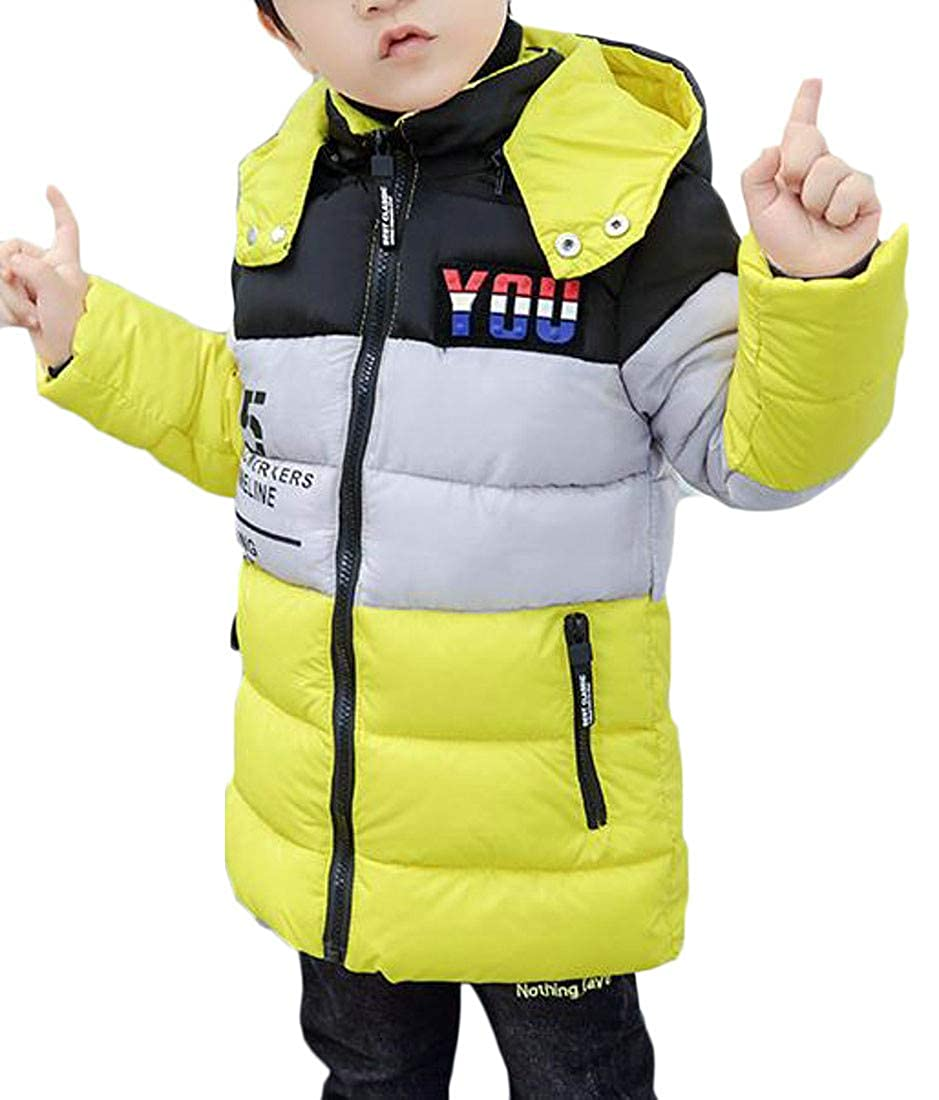 Lutratocro Boys Winter Letter Print Quilted Hooded Down Parka Coat Outwear