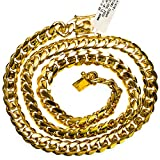 "IcedTime 14K YELLOW Gold MIAMI CUBAN SOLID CHAIN - 30"" Long 12X5MM Wide"