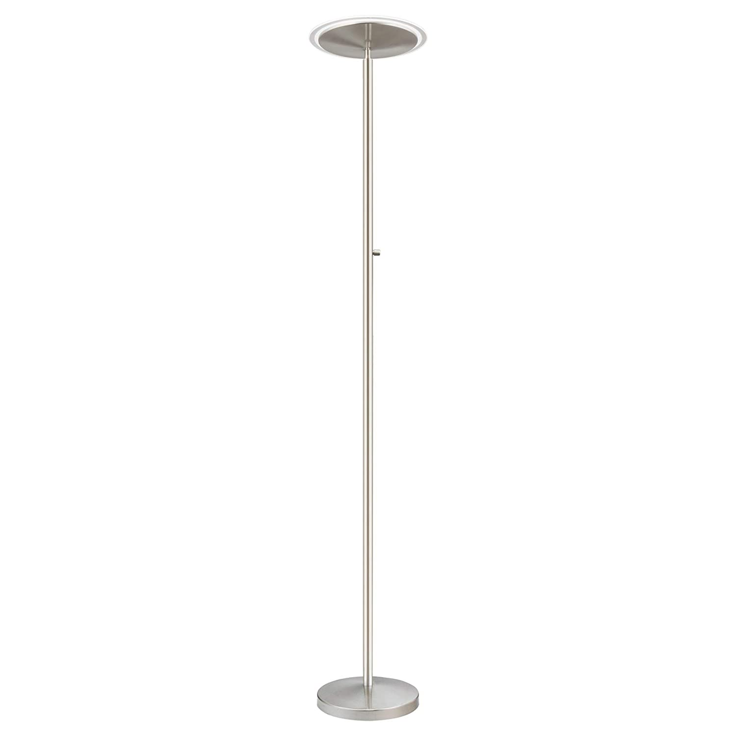 Timer and Wall Switch Compatible Brushed Nickel Finish RV-F216-6217-BN Adjustable Head 36W, 300W eq. 3000k Warm White Light Kira Home Horizon 70 Modern LED Torchiere Floor Lamp Dimmable Glass Diffuser