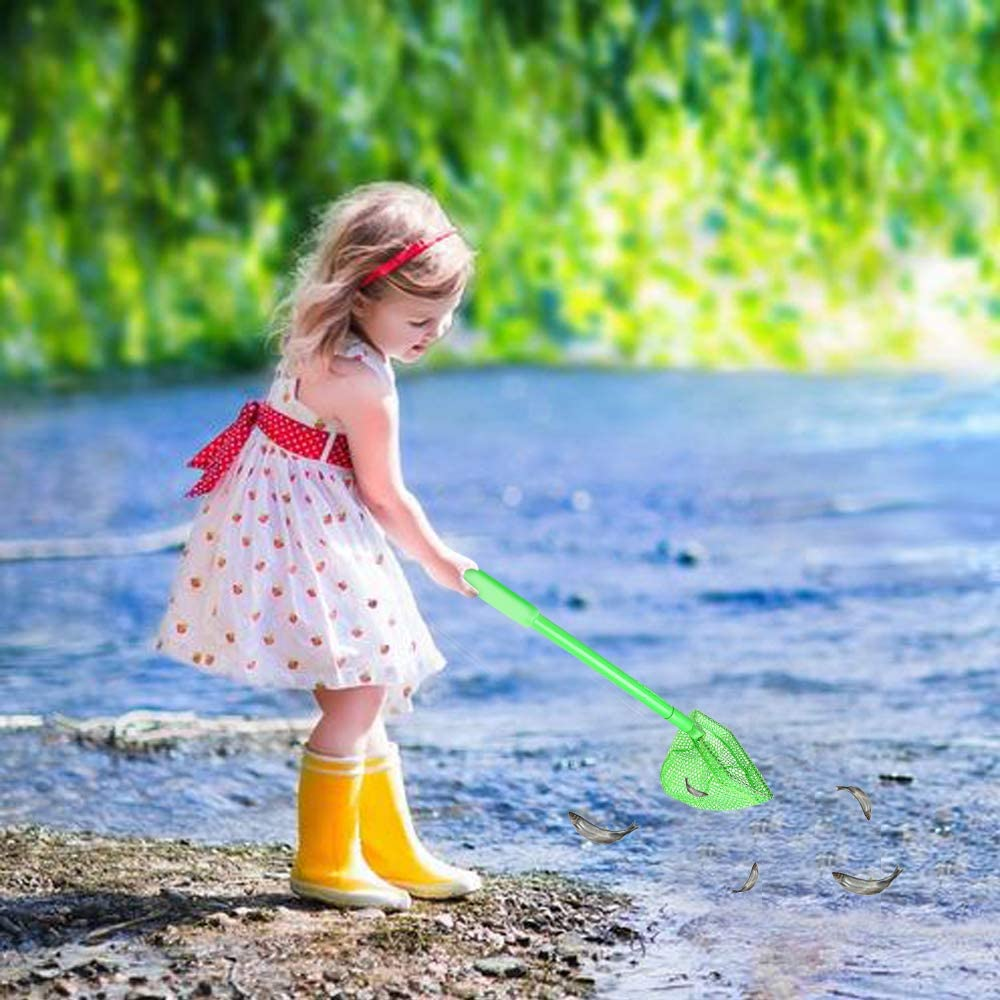 HOONEW 3 Pieces Kids Fishing Net Catching Butterflies Bug Beach Toys Catch and Release Butterfly Shelling Dip Net