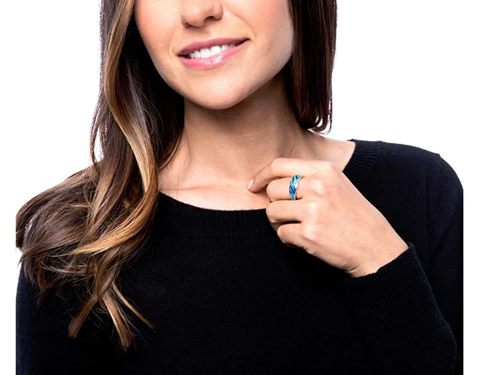 Beaux Bijoux Sterling Silver Created Blue Opal Designed Band Ring