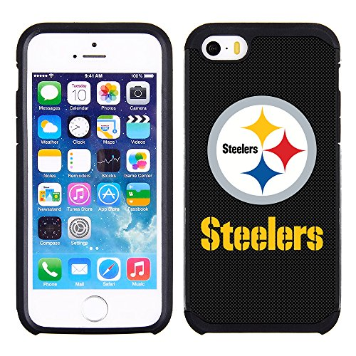 Case Steelers Pittsburgh (Prime Brands Group Textured Case with Team Color Design for Apple iPhone SE / 5s / 5 - NFL Licensed Pittsburgh Steelers)