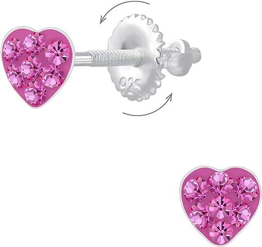 2er Set M/ädchen Ohrringe aus echt 925 Sterling-Silber Sterne Herz Edelstahl Kinder Ohrstecker